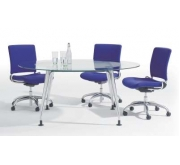 """DNA"" Glass Top Meeting Tables"