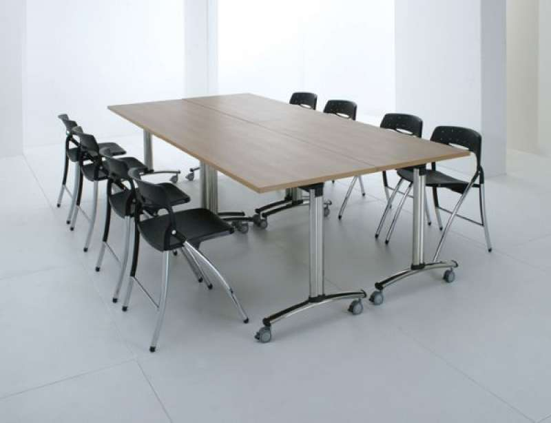 Tilting Top Mobile Meeting Tables Training Room Tables Folding - Mobile conference table