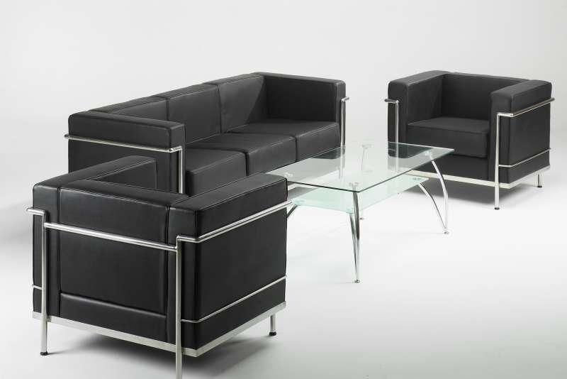 Le corbusier style black or white leather sofas low cost for Le corbusier sofa nachbau